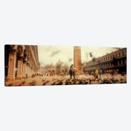 Flock of pigeons flyingSt. Mark's Square, Venice, Italy Canvas Print #PIM5824} by Panoramic Images Canvas Print