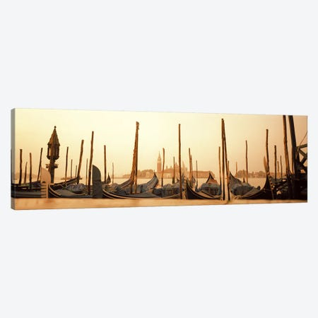 Moored Gondolas, San Marco Giardinetti Terminal, Venice, Italy Canvas Print #PIM5828} by Panoramic Images Canvas Wall Art