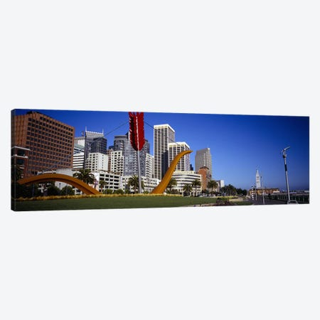 Low angle view of a sculpture in front of buildingsSan Francisco, California, USA Canvas Print #PIM5829} by Panoramic Images Canvas Artwork