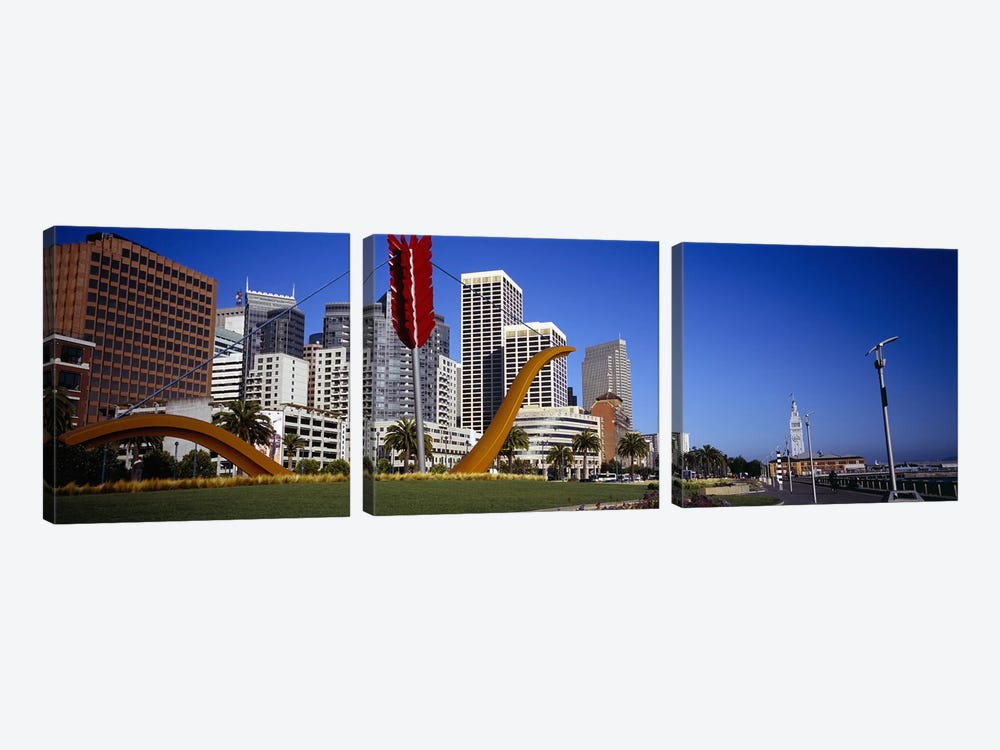 Low angle view of a sculpture in front of buildingsSan Francisco, California, USA by Panoramic Images 3-piece Canvas Art