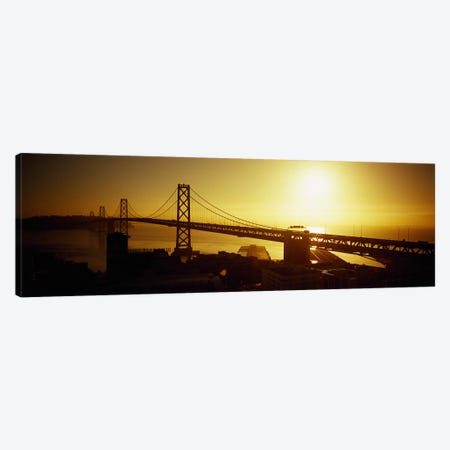 High angle view of a suspension bridge at sunsetBay Bridge, San Francisco, California, USA Canvas Print #PIM5830} by Panoramic Images Canvas Art Print