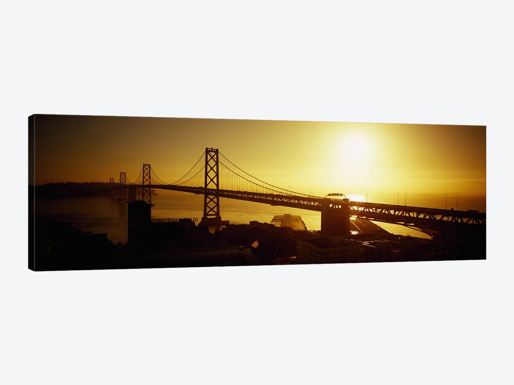 High angle view of a suspension bridge at sunsetBay Bridge, San Francisco, California, USA 1-piece Canvas Wall Art