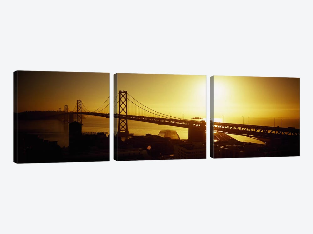High angle view of a suspension bridge at sunsetBay Bridge, San Francisco, California, USA 3-piece Canvas Wall Art