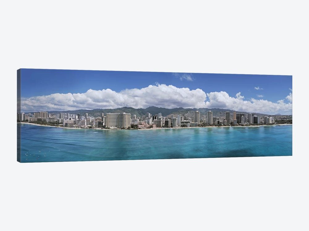 Buildings at the waterfront, Honolulu, Oahu, Hawaii, USA by Panoramic Images 1-piece Canvas Art Print