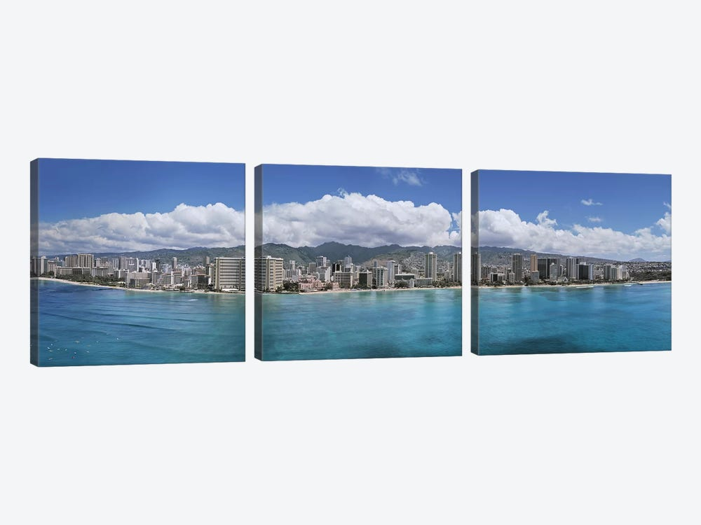 Buildings at the waterfront, Honolulu, Oahu, Hawaii, USA 3-piece Art Print