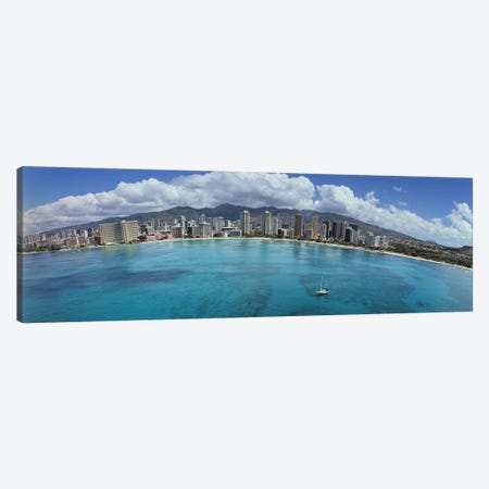 Buildings at the waterfront, Honolulu, Oahu, Hawaii, USA Canvas Print #PIM5832} by Panoramic Images Canvas Art Print