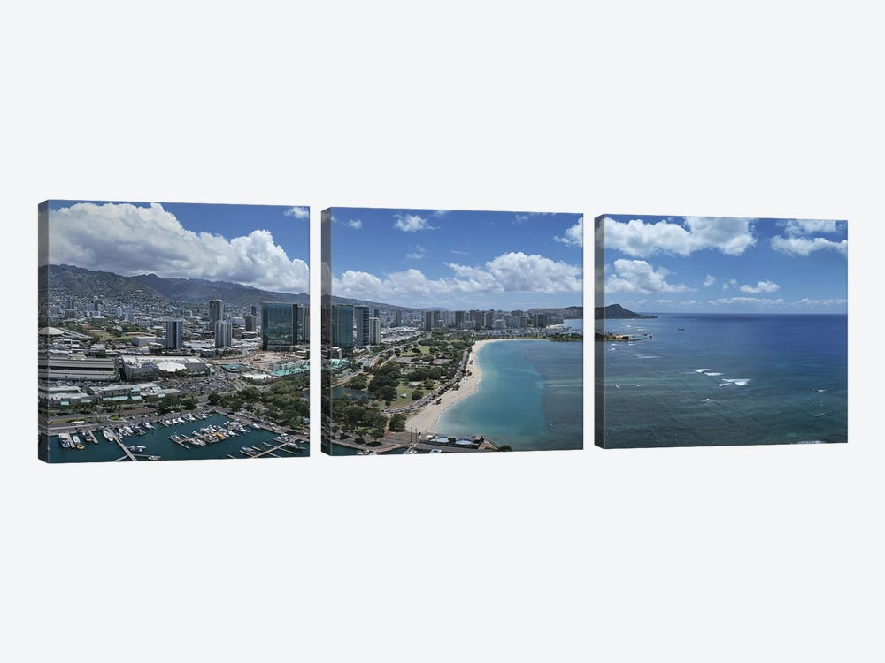 Buildings in a cityHonolulu, Oahu, Hawaii, USA by Panoramic Images 3-piece Canvas Wall Art