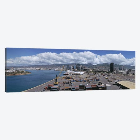 Cargo containers at a harborHonolulu, Oahu, Hawaii, USA Canvas Print #PIM5835} by Panoramic Images Canvas Artwork