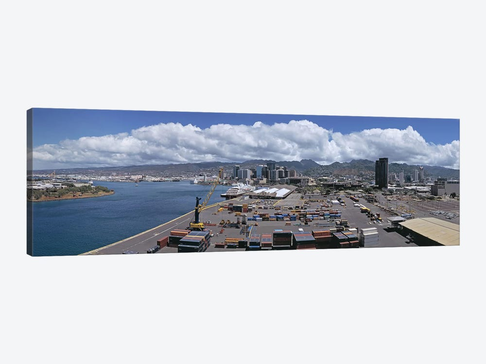 Cargo containers at a harborHonolulu, Oahu, Hawaii, USA by Panoramic Images 1-piece Canvas Print