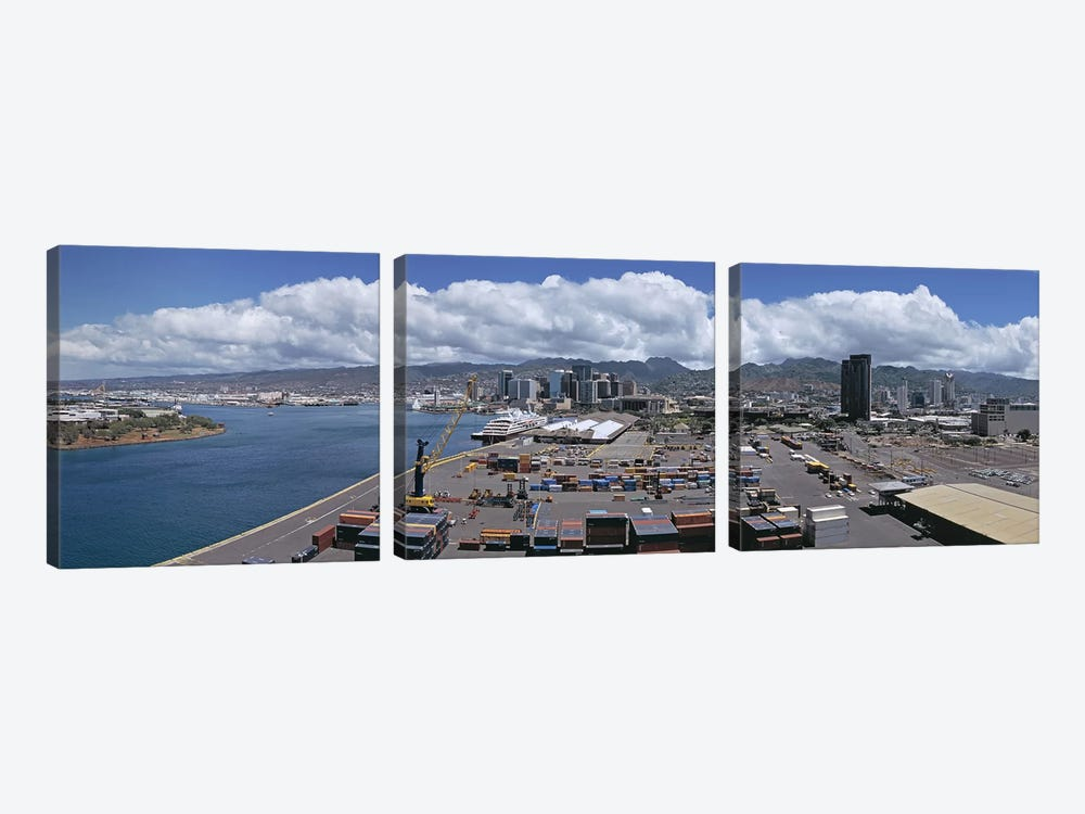 Cargo containers at a harborHonolulu, Oahu, Hawaii, USA by Panoramic Images 3-piece Art Print