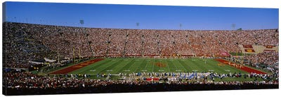 High angle view of a football stadium full of spectators, Los Angeles Memorial Coliseum, City of Los Angeles, California, USA Canvas Art Print