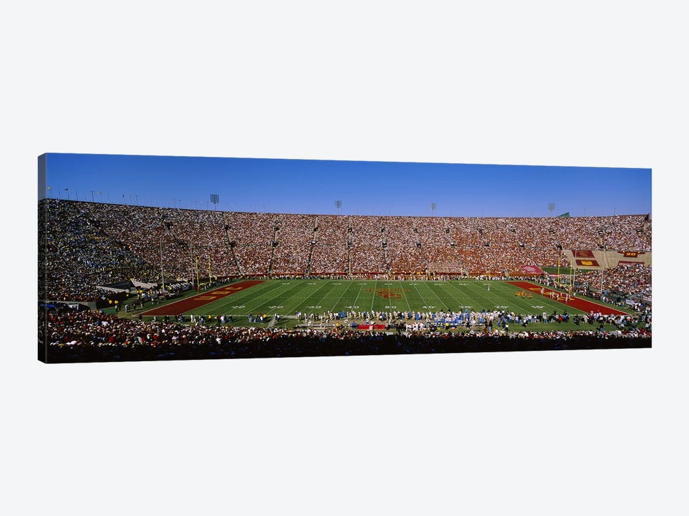 High angle view of a football stadium full of spectators, Los Angeles Memorial Coliseum, City of Los Angeles, California, USA by Panoramic Images 1-piece Art Print