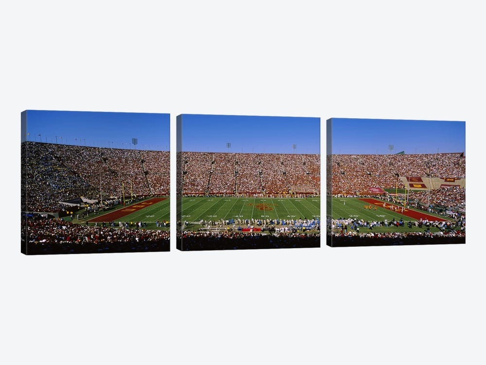 High angle view of a football stadium full of spectators, Los Angeles Memorial Coliseum, City of Los Angeles, California, USA by Panoramic Images 3-piece Canvas Print