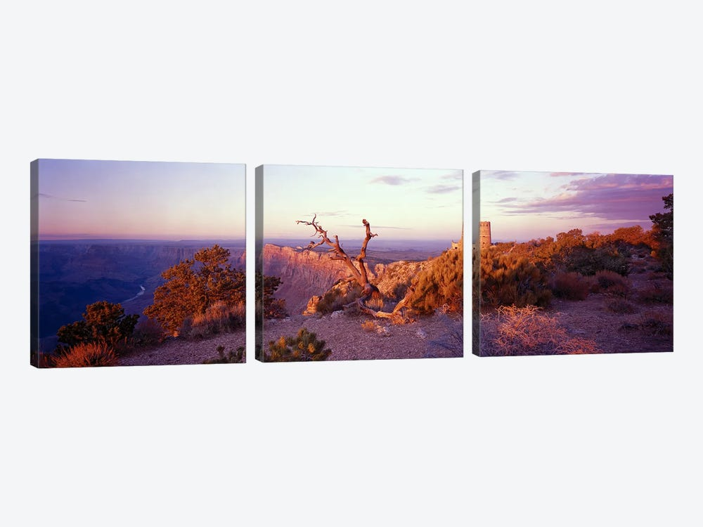 Majestic Sunset Over Desert View Watchtower, Grand Canyon National Park, Arizona, USA by Panoramic Images 3-piece Canvas Art
