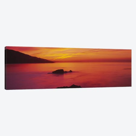 Panoramic view of the sea at dusk, Leo Carillo State Park, Carillo, Los Angeles County, California, USA Canvas Print #PIM5863} by Panoramic Images Canvas Art