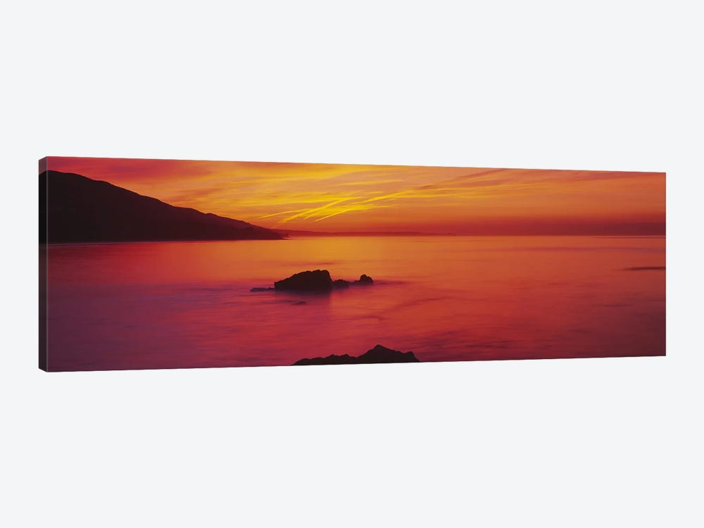 Panoramic view of the sea at dusk, Leo Carillo State Park, Carillo, Los Angeles County, California, USA by Panoramic Images 1-piece Canvas Wall Art