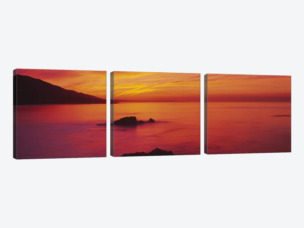 Panoramic view of the sea at dusk, Leo Carillo State Park, Carillo, Los Angeles County, California, USA by Panoramic Images 3-piece Canvas Wall Art
