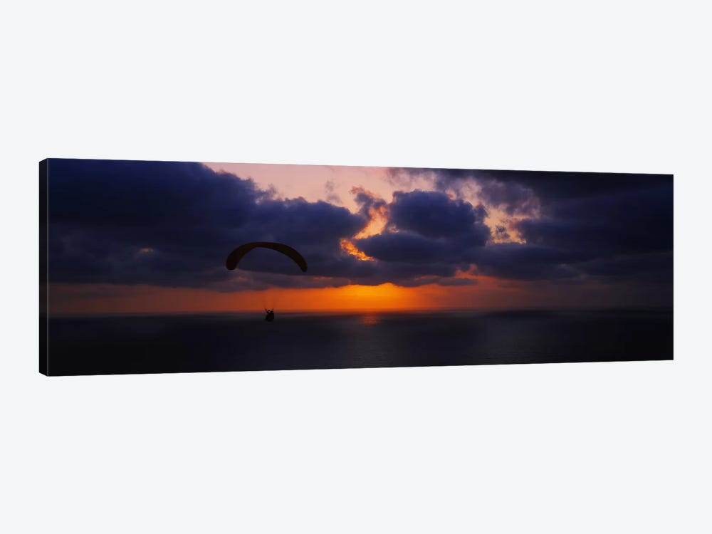 Silhouette of a person paragliding over the sea, Blacks Beach, San Diego, California, USA by Panoramic Images 1-piece Canvas Print