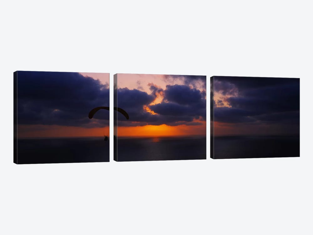 Silhouette of a person paragliding over the sea, Blacks Beach, San Diego, California, USA by Panoramic Images 3-piece Canvas Print