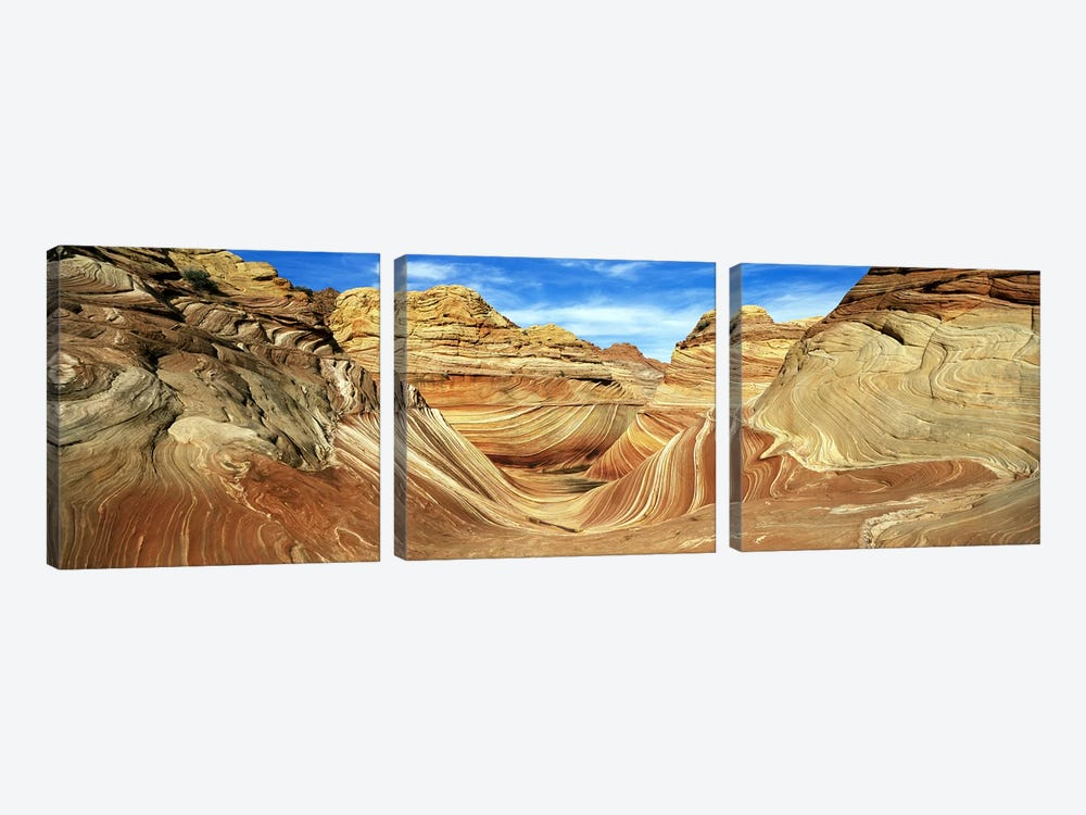 The Wave, Coyote Buttes, Paria Canyon-Vermillion Cliffs Wilderness, Coconino County, Arizona, USA by Panoramic Images 3-piece Canvas Art