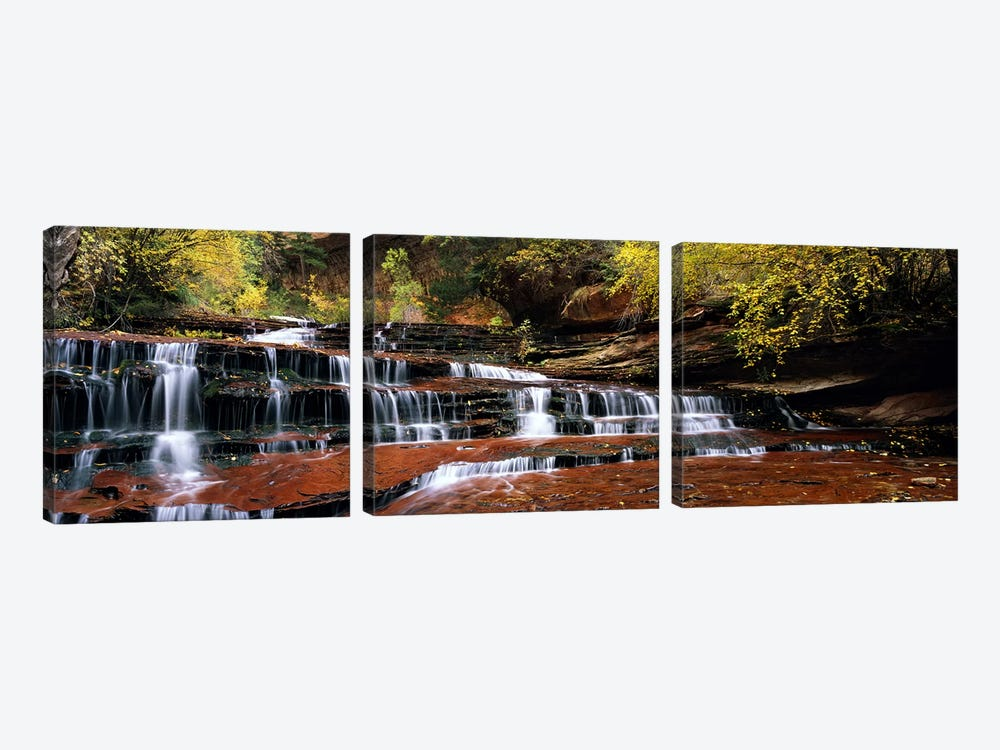 Waterfall in a forest, North Creek, Zion National Park, Utah, USA by Panoramic Images 3-piece Canvas Art Print