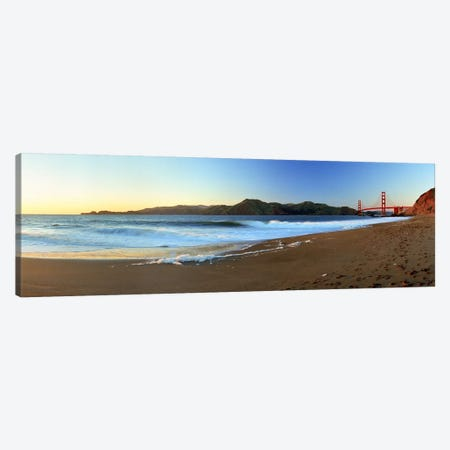 Footprints on the beach, Golden Gate Bridge, San Francisco, California, USA Canvas Print #PIM5868} by Panoramic Images Canvas Art