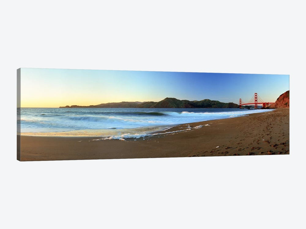 Footprints on the beach, Golden Gate Bridge, San Francisco, California, USA by Panoramic Images 1-piece Canvas Art Print