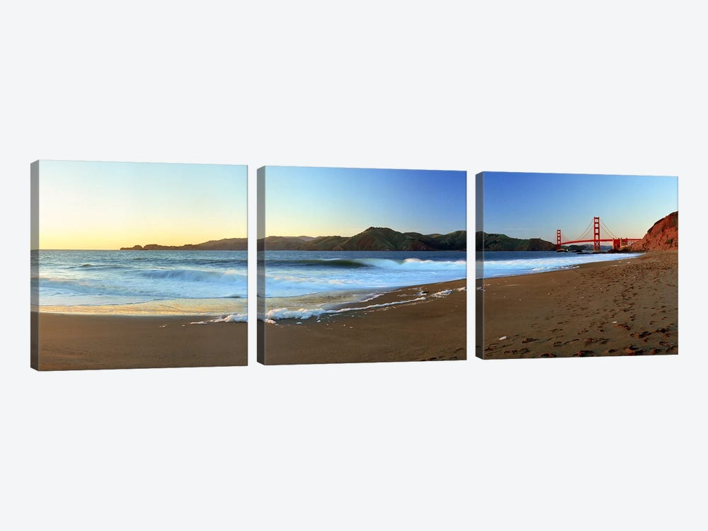 Footprints on the beach, Golden Gate Bridge, San Francisco, California, USA by Panoramic Images 3-piece Art Print