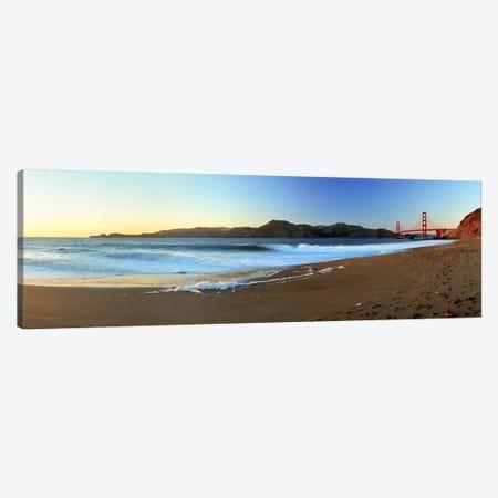 Footprints on the beach, Golden Gate Bridge, San Francisco, California, USA Canvas Print #PIM5868} by Panoramic Images Canvas Art