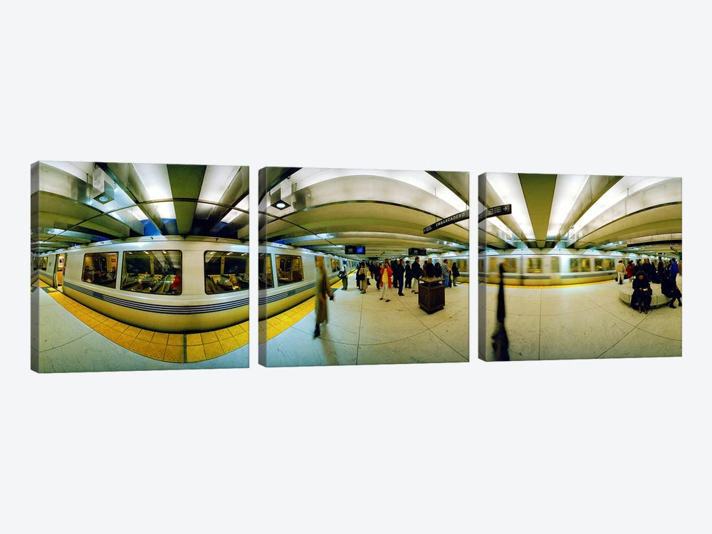Large group of people at a subway stationBart Station, San Francisco, California, USA by Panoramic Images 3-piece Canvas Artwork