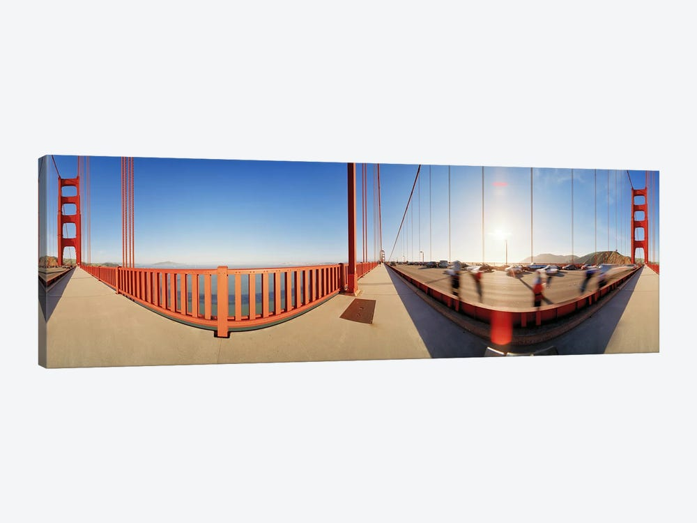 Group of people on a suspension bridge, Golden Gate Bridge, San Francisco, California, USA by Panoramic Images 1-piece Canvas Art