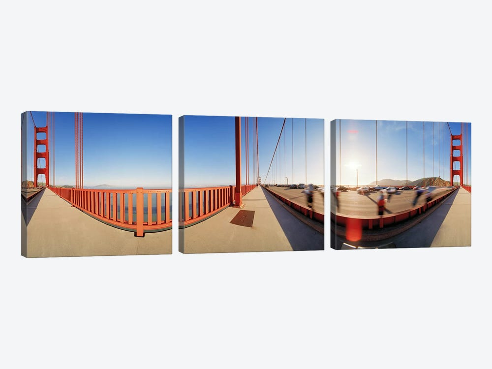 Group of people on a suspension bridge, Golden Gate Bridge, San Francisco, California, USA by Panoramic Images 3-piece Canvas Art