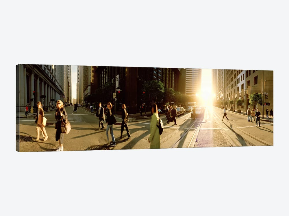 Group of people walking on the street, Montgomery Street, San Francisco, California, USA by Panoramic Images 1-piece Art Print