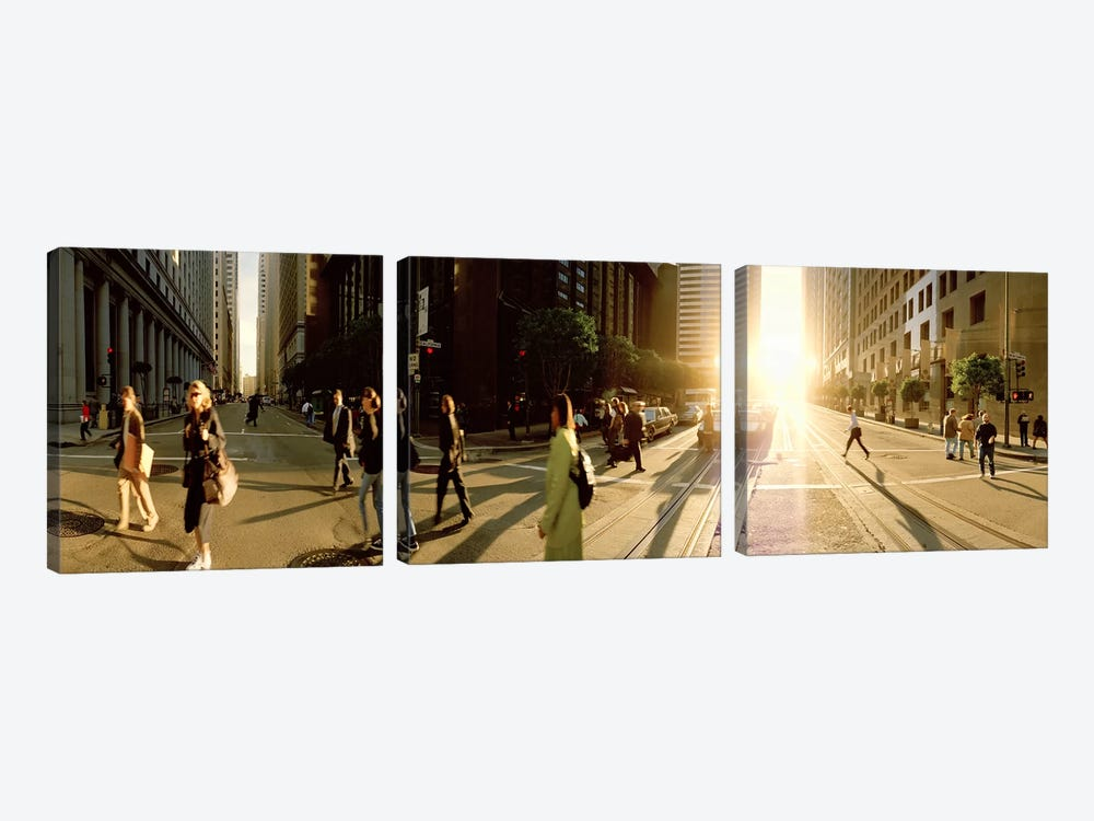 Group of people walking on the street, Montgomery Street, San Francisco, California, USA by Panoramic Images 3-piece Canvas Print
