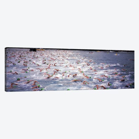 Triathlon athletes swimming in water in a race, Ironman, Kailua Kona, Hawaii, USA Canvas Print #PIM5875} by Panoramic Images Canvas Artwork
