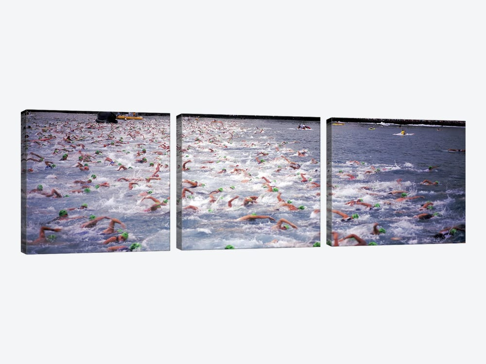 Triathlon athletes swimming in water in a race, Ironman, Kailua Kona, Hawaii, USA by Panoramic Images 3-piece Art Print