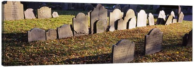 Tombstones in a cemetery, Copp's Hill Burying Ground, Freedom Trail, Boston, Massachusetts, USA Canvas Print #PIM5876