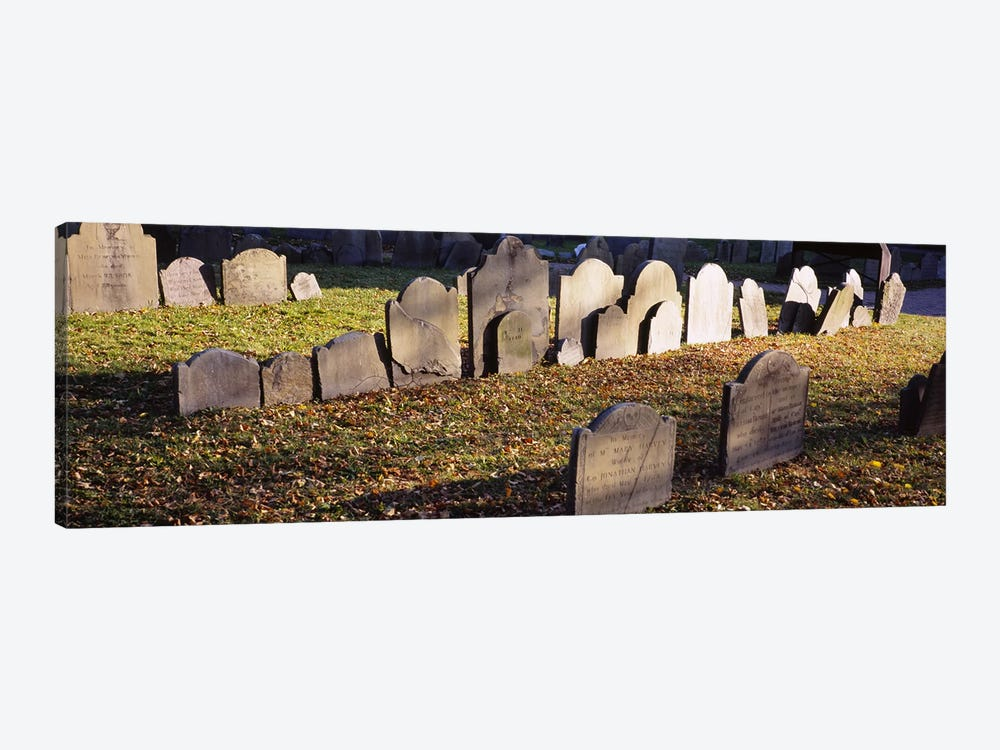 Tombstones in a cemetery, Copp's Hill Burying Ground, Freedom Trail, Boston, Massachusetts, USA by Panoramic Images 1-piece Canvas Wall Art