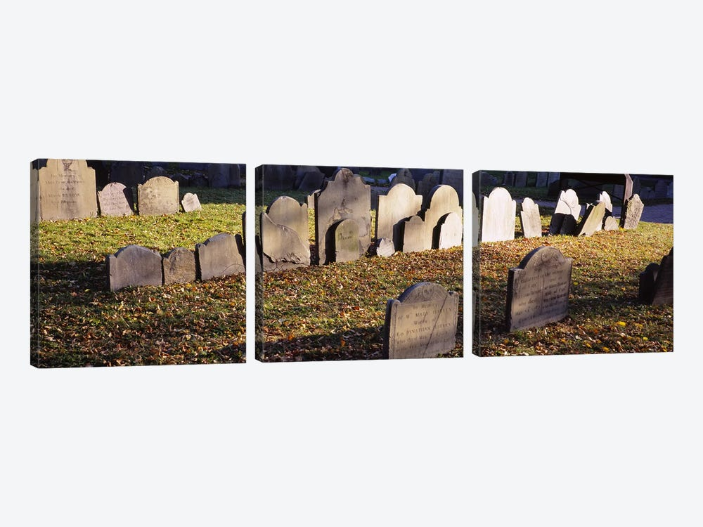 Tombstones in a cemetery, Copp's Hill Burying Ground, Freedom Trail, Boston, Massachusetts, USA by Panoramic Images 3-piece Canvas Art