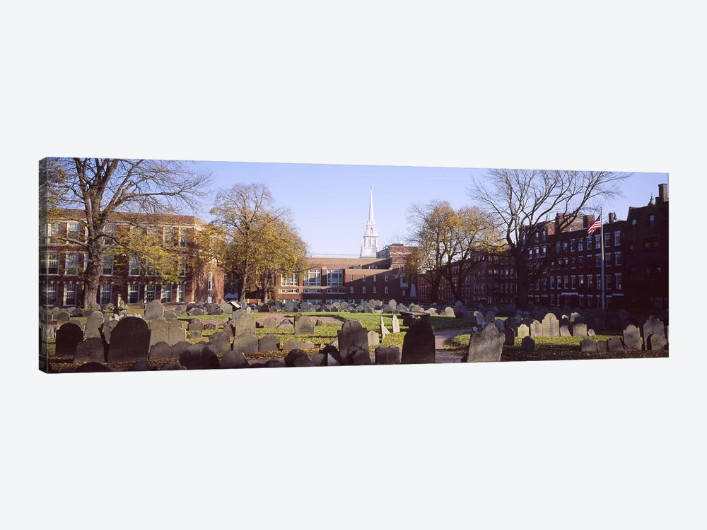 Tombstones in a cemetery, Copp's Hill Burying Ground, Freedom Trail, Boston, Massachusetts, USA #2 by Panoramic Images 1-piece Canvas Art Print