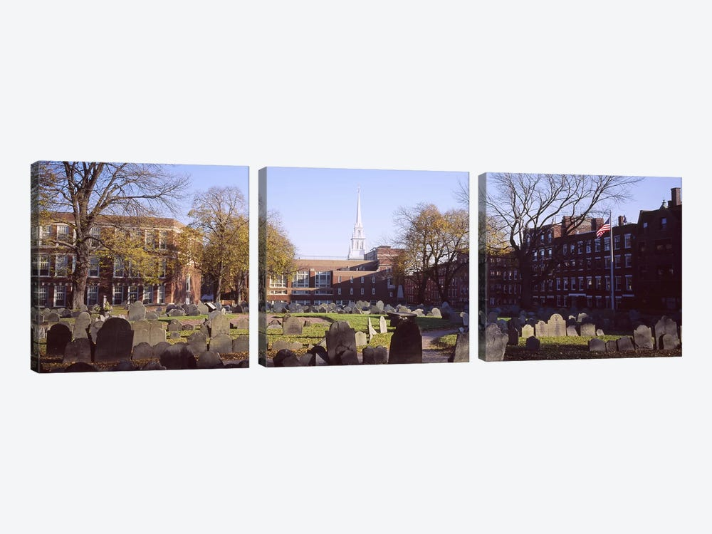 Tombstones in a cemetery, Copp's Hill Burying Ground, Freedom Trail, Boston, Massachusetts, USA #2 by Panoramic Images 3-piece Canvas Print