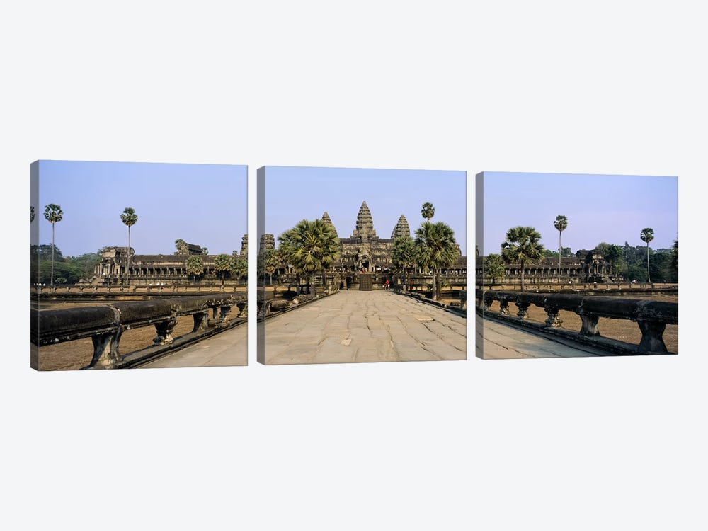 Path leading towards an old temple, Angkor Wat, Siem Reap, Cambodia by Panoramic Images 3-piece Canvas Art
