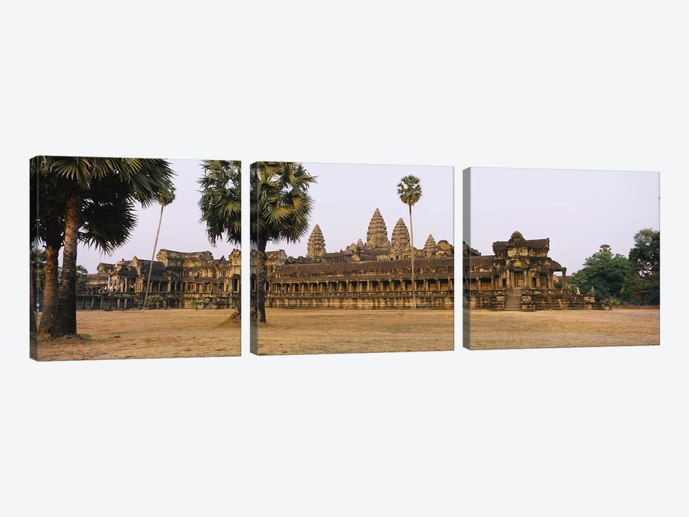 Facade of an old temple, Angkor Wat, Siem Reap, Cambodia #2 by Panoramic Images 3-piece Art Print