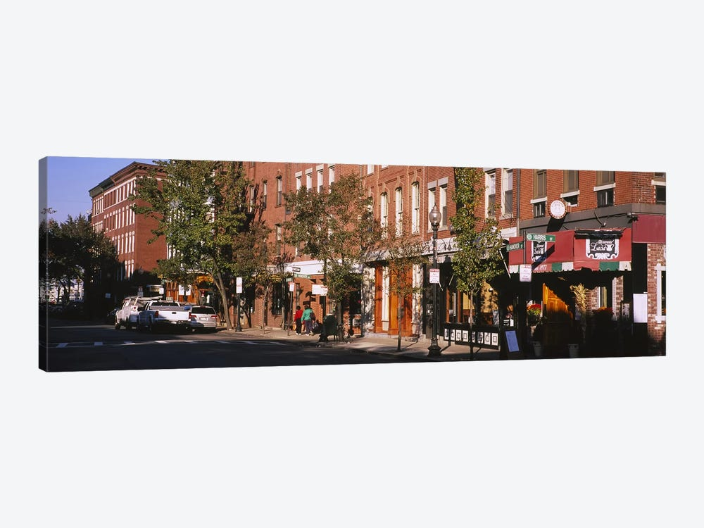 Stores along a street, North End, Boston, Massachusetts, USA 1-piece Canvas Art