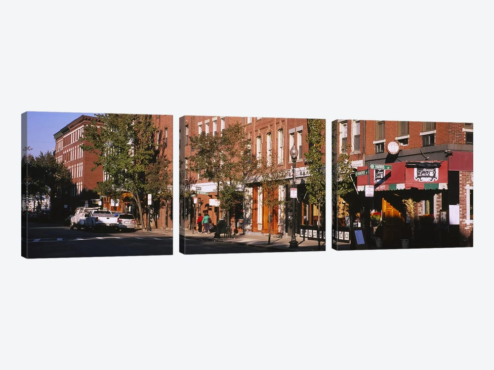 Stores along a street, North End, Boston, Massachusetts, USA by Panoramic Images 3-piece Canvas Art