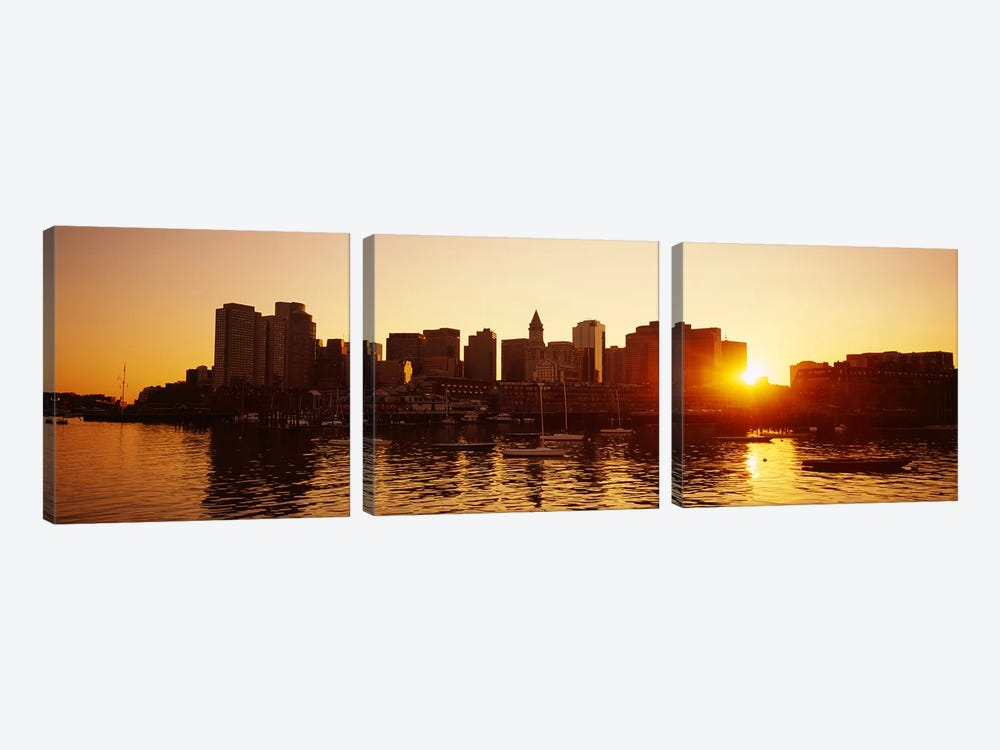 Sunset over skyscrapersBoston, Massachusetts, USA by Panoramic Images 3-piece Canvas Wall Art