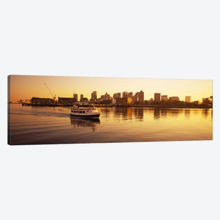 Ferry moving in the seaBoston Harbor, Boston, Massachusetts, USA Canvas Print #PIM5891} by Panoramic Images Canvas Print