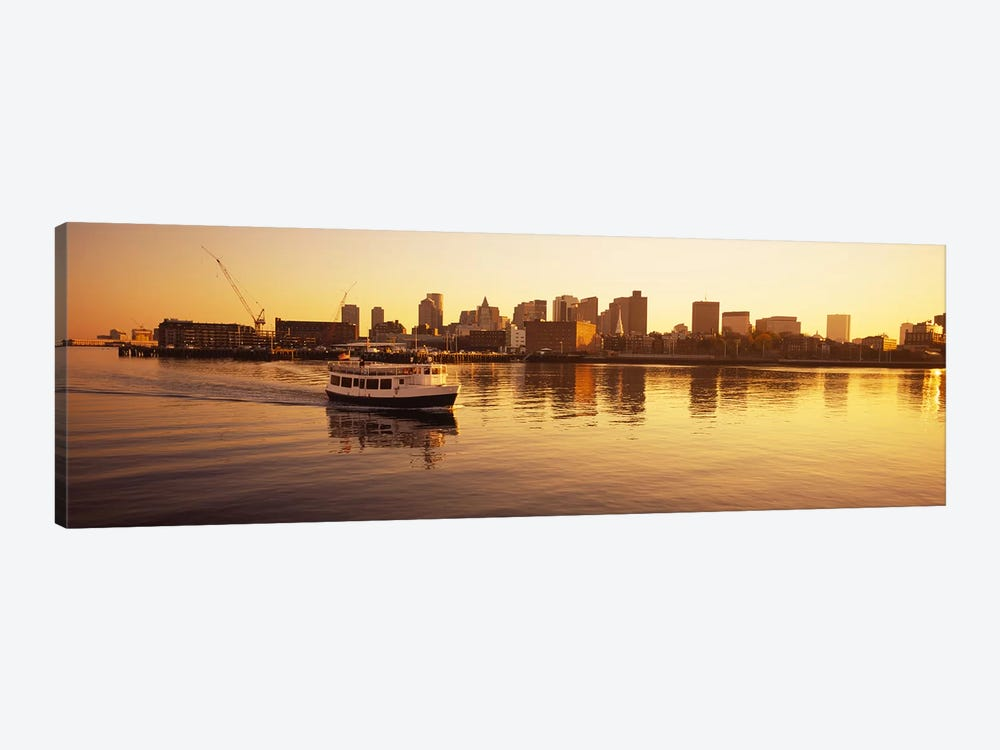 Ferry moving in the seaBoston Harbor, Boston, Massachusetts, USA by Panoramic Images 1-piece Canvas Art Print
