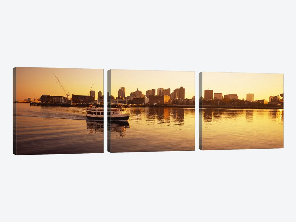Ferry moving in the seaBoston Harbor, Boston, Massachusetts, USA by Panoramic Images 3-piece Art Print