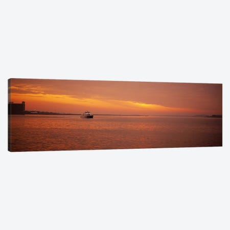 Ferry moving in the sea at sunrise, Boston, Massachusetts, USA Canvas Print #PIM5892} by Panoramic Images Art Print